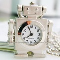 10pcs/lot wholesale price Fashion Vintage bronze robot  pocket watch necklace,gift watch for children