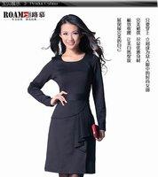 Brand new fashion OL dress, plus size lady dress, black, red and purple, 1pcs/lot, free shipping(drop shipping)