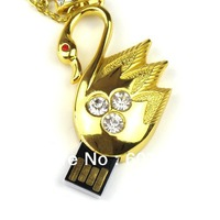 2GB/4GB/8GB/16GB/32GB Crystal Swan USB 2.0 Flash Drive Golden Swan USB Flash Drive Crystal Necklace