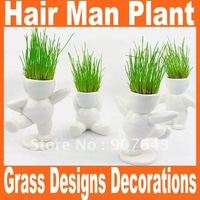 Christmas DIY White Man Magic grass planting,Creative Gift Hair man Plant Office Fantastic Home Decor