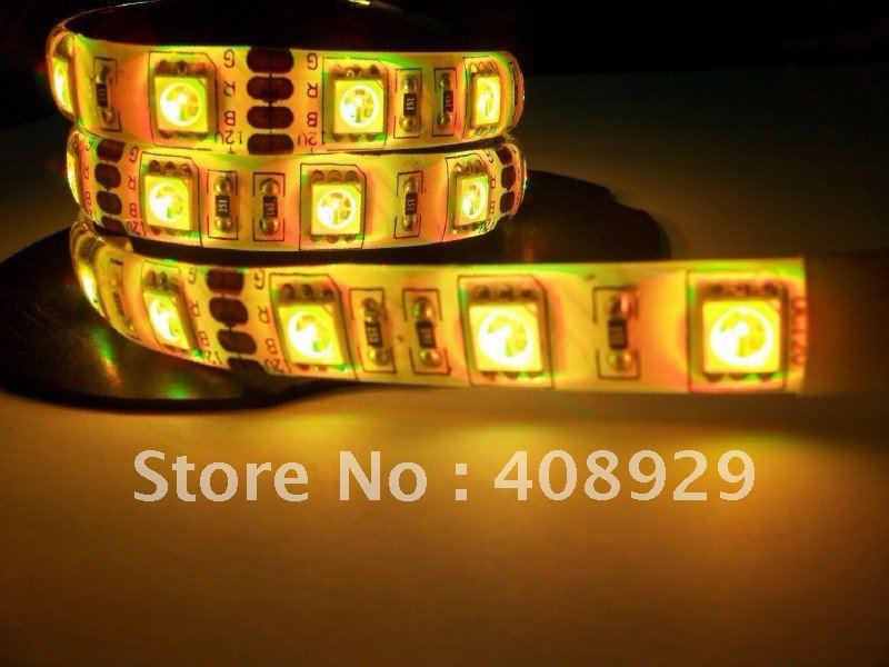 5050 soft light strip, LED Strip Light,150PCS, LED light bar,SMD5050 ,Yellow, IP65, Epoxy waterproof, LED decorative lights with(China (Mainland))