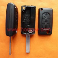 Free shipping-Citroen 407 blade 3 button flip remote key shell with light button ( HU83 Blade - Light - No battery place )