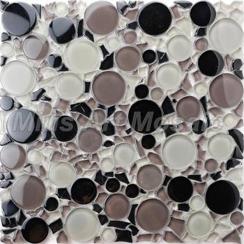 [Mius Art Mosaic] Black mix color  Circle  crystal glass mosaic tile for kitchen backsplash ,bedroom decoration MC001