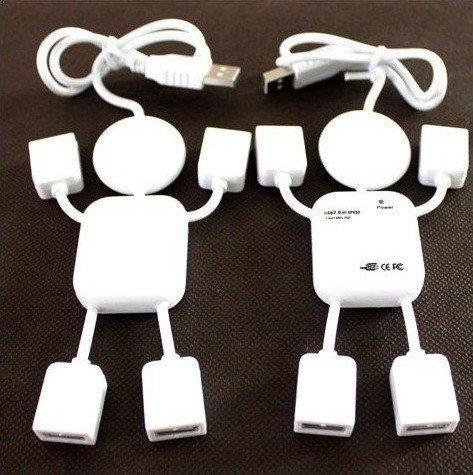 MOQ 1PCS High Speed Little Human Shape Robot 4 Port USB Hub Free Shipping Cheap and Excellent Quality(China (Mainland))