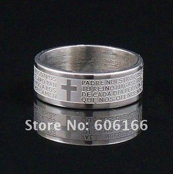 30x  8mm Silver Tone Etched Spanish Bible Lord's Prayer Cross Ring Stainless Steel Rings Fashion Religious Jewelry Wholesale
