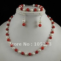 Charming!pearl jewelry set AA6-7mm white Genuine freshwater pearl &red coral necklace bracelet earring free shipping A2428