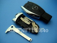 5pcs/lot  Benz 3 button remote smart key shell case fob blank cover with battery clip clamp and blade
