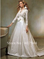 hot sell famous designer taffeta long sleeves wedding dress/bridal dress /bridal gown /wedding gown/ball gown