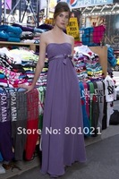A-line Strapless Full Length Chiffon Taupe Bow Bridesmaid Dresse Gowns