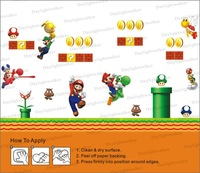 Free Shipping 240*200cm  Huge(XXL) size kids room hot sales super mario bros. wall sticker
