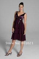 V-neckline satin bodice tiered skirt knee flaunts femininity Bridesmaid Dresses 2012