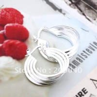 Free Shipping/ Fashion  Four Coil  Earring, 925  Silver Earring,High quality. Wholesale 925 Silver jewelry.nice gift. E157