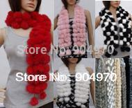1PCS free ship Genuine real Rabbit Fur Scarf Length 110cm 108pcs Pompom Soft Warm 15 beautiful Colors Wide options Super DEAL(China (Mainland))