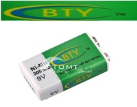 free shipping 100pcs/lot 9V 300mAh Ni-MH Rechargeable Battery Batterie BTY