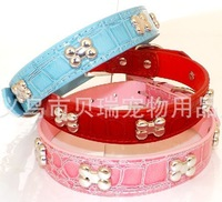 dog  bones crocodile leather leather collar  2cm with Alloy adjuster  Free Shipping!