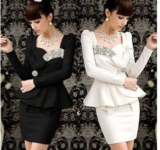 2015  fashion long sleeve dress/Office lady noble Black white dress Crystal Neck Dress christimas dress452-0157