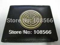 Free shipping Inter Milan metal badge purse / Imitation leather wallet   dropshipping