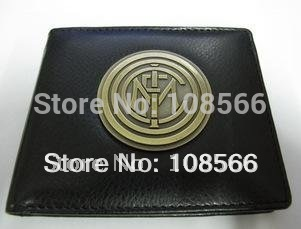 Free shipping Inter Milan metal badge purse / Imitation leather wallet   dropshipping