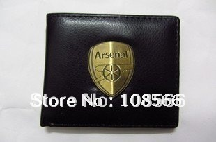 Free shipping arsenal  fc purse /popular black  imitation leather flat wallet