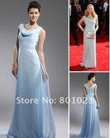 Kim Kardashian Sheath/ Column V-neck Sweep/ Brush Train Chiffon Elastic Woven Satin Emmy/ Evening Dress