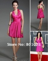 A-line V-neck Short/ Mini Sleeveless Elastic Silk-like Satin Ruffles Grammy Dress