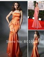 Maggie Gyllenhaal Trumpet/ Mermaid Strapless Floor-length Sleeveless Satin Golden Globe/ Evening Dress