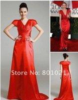 Cameron Diaz Sheath/ Column V-neck Floor-length Short Elastic satin Golden Globe/ Evening Dress