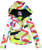 2013 new arrival womens waterproof breathable geometric pattern bright curves colorful bar snowboarding jacket ladies ski jacket