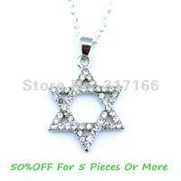 Free Shipping Crystal Jewish Mogen David Pendant Necklace