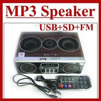 1PCS Mini Sound box MP3 MP4 MP5 player Mobile Speaker boombox FM Radio SD Card reader USB SU12 free shipping
