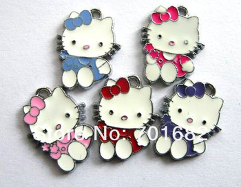 hello kitty wholesale 50pcs Hang Pendant Charm mixed color Zinc alloy Approximately 22x17mm fit necklace cell phone charms