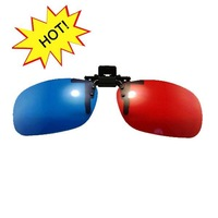 clip on 3d film red / blue lens glasses be able to clip on the optical frame for computer games