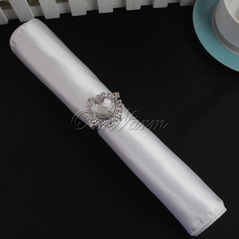 "White 12"" Square Satin Cloth Napkin or Handkerchief Multi Purpose Wedding Party Decor Many Colors(China (Mainland))"