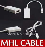 Free Ship : 10 Pcs / Lot : Micro USB MHL to HDMI HDTV Cable Adapter for HTC Flyer EVO 3D G4 Galaxy S2 i9100 Converter MicroUSB