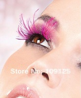 1 Pair Party Feather Fake False Eye Lash Eyelashes Exaggerated new Pink kua feathers
