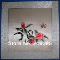 Exquisite Chinese hand made silk embroidery art peony and butterfly home decor X'mas gift Su Embroidery