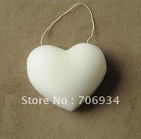 4pcs/lot 4colors heart-shaped 100% Natural Konjac Facial Sponge Facial Wash Cleaning Puff 70*90*30mm
