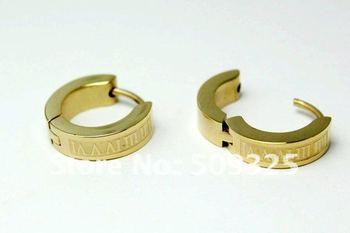 Free shipping wholesale 6pairs/lot gap gold stainless steel earrings,hoop earring,fashion men's earring SSE057