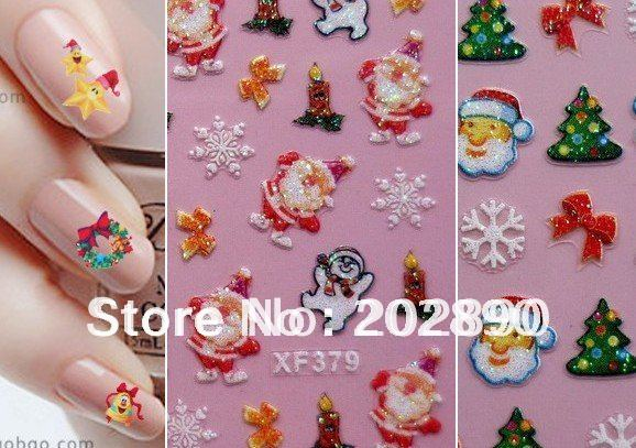 High quality Mix 3D Nail Art sticker,Decal Christmas designs Nail Stickers Holidays XMAS FATHER Nail Art Decoration Wholesales