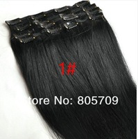 "low price 28"" #1 180g 6pcs jet black 100% real human hair clips in extensions real straight full head high quality"