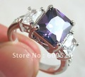 Natural  Tanzanite In 14k Solid White Gold-plated Ring