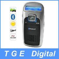 Car Solar Panel Powered Wireless Bluetooth Handsfree Car Kit LCD Display FM Transmitter Modulator Phone Receiver MP3 Player