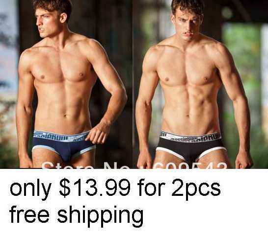 big save only $13.99 for 2pcs sexy men's men low rise brief modal navy and black(China (Mainland))