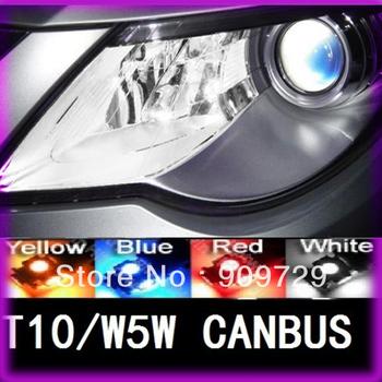 Free Shipping 500pcs/lot T10 Canbus LED W5W 194 5050 SMD 5 LED Error Free White Light Bulbs