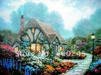Discount oil painting,100% handmade+High quality+Money Guarantee,canvas oil painting,Chandler's Cottage by Thomas Kinkad
