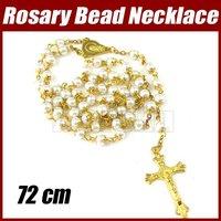 10pcs/lot Catholic Rosary Bead Necklace Gold Glass Round Beads 1755