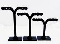 Earrings ear Necklace Pendant Holder Display Stand Showcase rack hanger  tree black 3pcs set