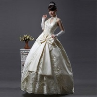 free shipping 2012 halter floor length bow blackless taffeta wedding dress white/red/champagne colour wedding dresses