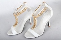 Free shipping summer Brand sexy high heel women gold Chain Shoes Genuine Leather plat pumps Sandals Black White size 34-40