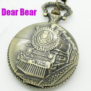 DH004 12pcs/lot Bronze Railroad Steam Train Head Quartz Pocket Watch Necklace NW11057(China (Mainland))
